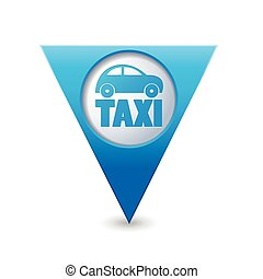 Map pointer with taxi icon