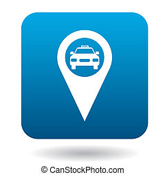 Map pointer with taxi icon in flat style