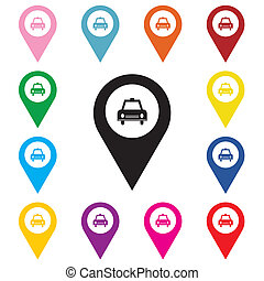 Map pointer with taxi icon.