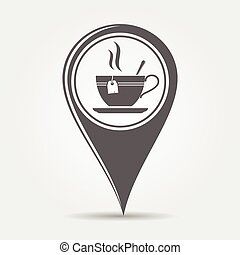 Map pointer with tea icon