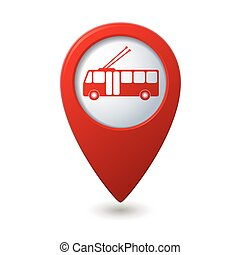 Map pointer with trolleybus icon