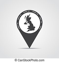 Map pointer with UK map on a gray background. Vector illustration