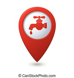 Map pointer with water tap icon