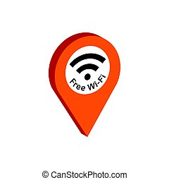 Map Pointer with Wi-Fi symbol. Flat Isometric Icon or Logo. 3D Style Pictogram for Web Design, UI, Mobile App, Infographic.
