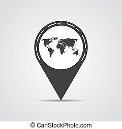 Map pointer with world map on a gray background. Vector illustration