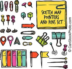 Map Pointers And Pins Sketch - Colorful set drawn in sketch...
