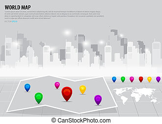 Map pointers and world map. Vector illustration.