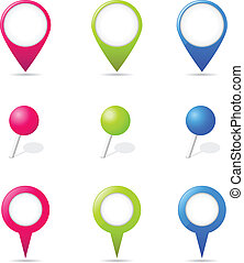 Map Pointers - Set of map pointers, vector illustration.