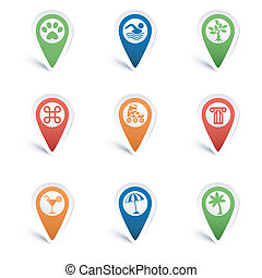 Map Pointers - Set Map Pointers with Leisure Icons - tree,...