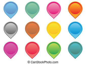 Map pointers - Set of colorful map pointers on white...