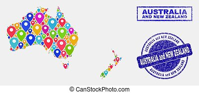 Map Pointers Mosaic of Australia and New Zealand Map and Grunge Stamps