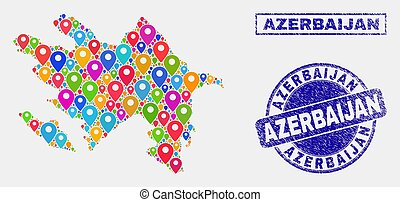 Map Pointers Mosaic of Azerbaijan Map and Grunge Stamp Seals