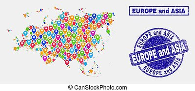 Map Pointers Mosaic of Europe and Asia Map and Grunge Stamp Seals