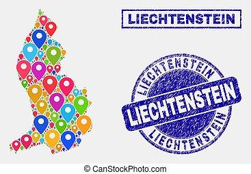 Map Pointers Mosaic of Liechtenstein Map and Grunge Stamp Seals