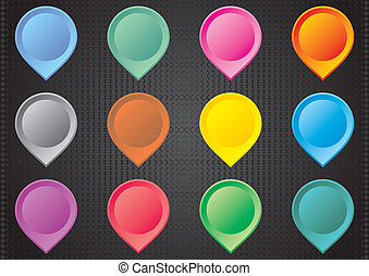 Map pointers - Set of colorful map pointers on black...