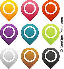Map pointers set - Set of 9 isolated colorful map pointers