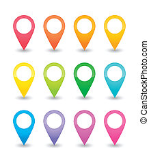 Map pointers - Twelve map pointers in various colors