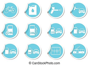 Map pointers with car service and gas station icons. Vector...