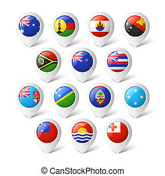 Map pointers with flags. Oceania.