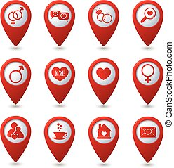 Map pointers with love icons