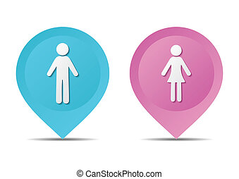 Map pointers with man and woman icons