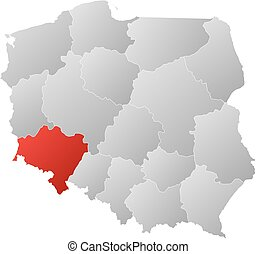 Map of Poland with the provinces, filled with a linear gradient, Lower Silesian is highlighted.