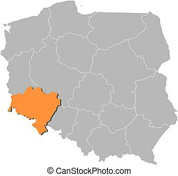 Map of Poland with the provinces, Lower Silesian is highlighted by orange.