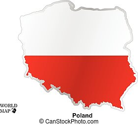 Map Poland. Map with flag. - map art vector background...