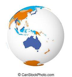 map., politique, 3d, illustration, vecteur, carte, coloré, globe, la terre, australia., vide