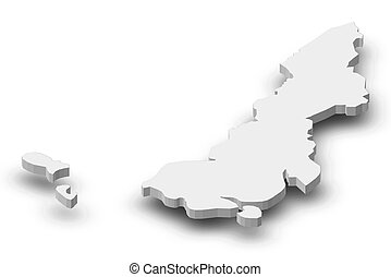 Map of Preah Sihanouk, a province of Cambodia, as a gray piece with shadow.