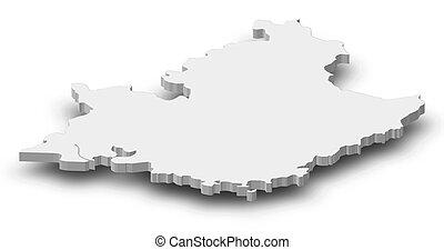 Map - Provence-Alpes-Cote d'Azur (France) - 3D-Illustration