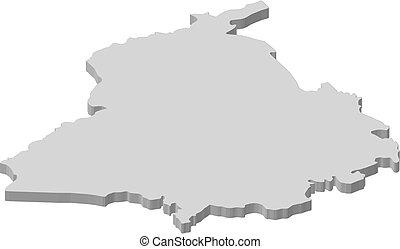 Map - Punjab (India) - 3D-Illustration - Map of Punjab, a...