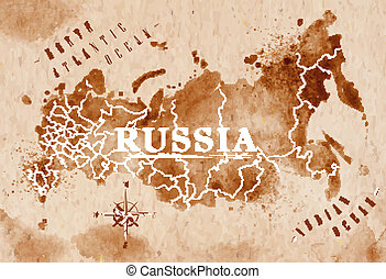 Map of Russia in old style in vector format, brown graphics in a retro style