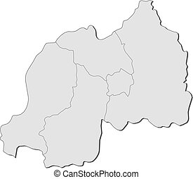Map - Rwanda - Map of Rwanda with the provinces.