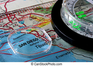 Map San Diego - USA map with the city of San Diego and a...