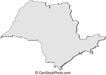 Map of brazil, sao paulo highlighted. Political map of brazil with ...
