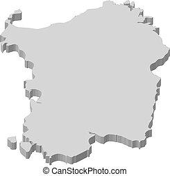 Map - Sardinia (Italy) - 3D-Illustration - Map of Sardinia,...