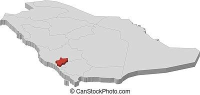 Map - Saudi Arabia, Al-Bahah - 3D-Illustration