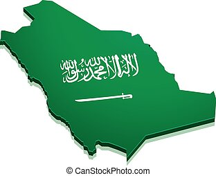 Map Saudi Arabia - detailed illustration of a map of Saudi...