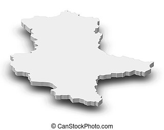Map - Saxony-Anhalt (Germany) - 3D-Illustration - Map of...