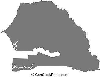 Map - Senegal - Map of Senegal as a dark area.
