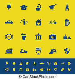Map sign and symbol color icons on yellow background