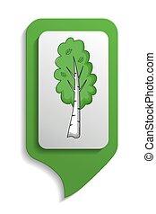Map sign Birch tree icon, cartoon style