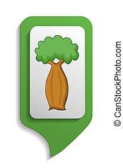 Map sign bottle tree icon, cartoon style