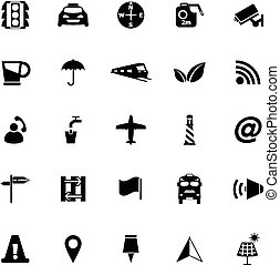 Map sign icons on white background