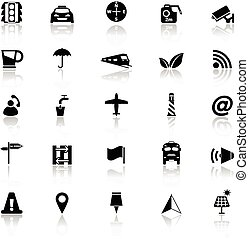 Map sign icons with reflect on white background, stock...