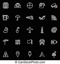 Map sign line icons on black background