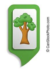 Map sign oak tree icon, cartoon style