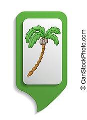 Map sign palm tree icon, cartoon style