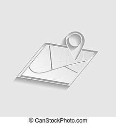 Map sign. Paper style icon. Illustration.